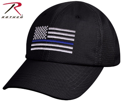 Mens USA American Flag Thin Blue Line Mesh Cap - Rothco Black TBL Baseball Hat