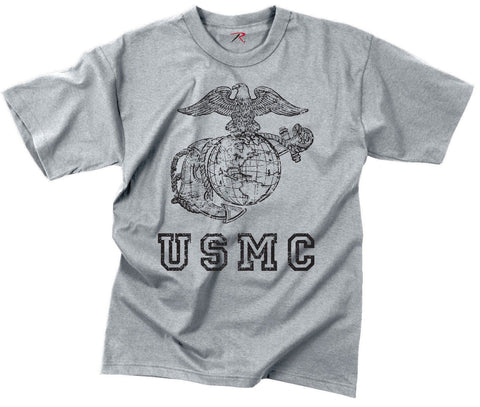 Vintage USMC Grey T-Shirt Mens Globe & Anchor Military Tee Shirt S-3XL