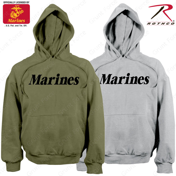 529d29a7 Mens Marines Pullover Hoodie Sweatshirt - Rothco OD or Grey PT Hooded –  Grunt Force