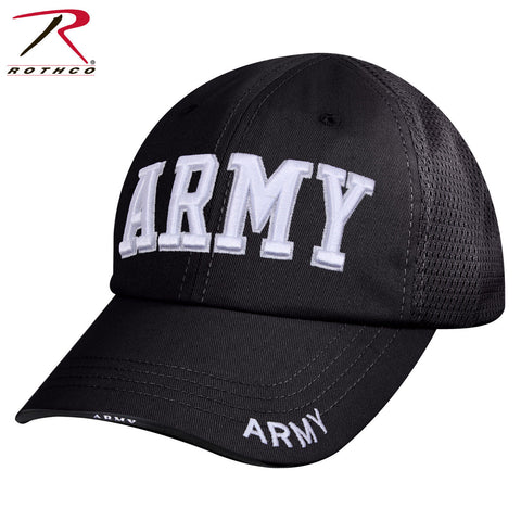 Black Mid-Low Profile Mesh Back Baseball Hat - Rothco ARMY Tactical Mesh Cap