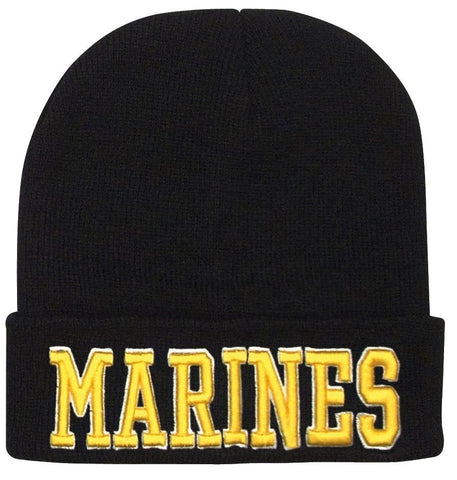 e398a5dc5f9 Black MARINES Watch Cap Ski Hat - 3D Gold Embroidery Military Style Wi –  Grunt Force