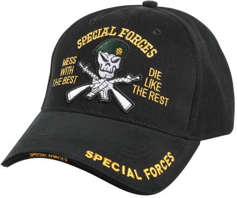 35e7ed01bed40 Special Forces Cap Black - Deluxe Low Profile Insignia Hat
