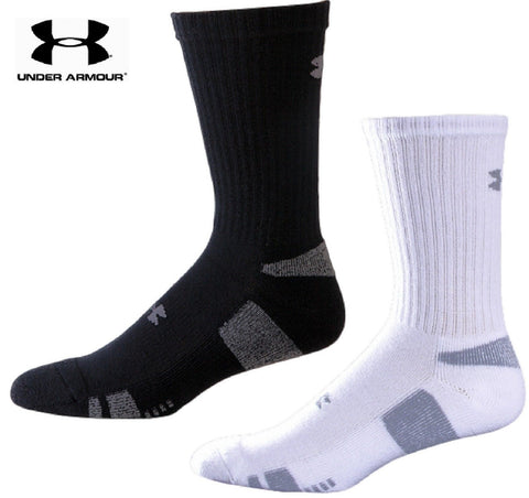 3-Pack Under Armour HeatGear Crew Sock - 3 Pairs UA Black or White Trainer Socks