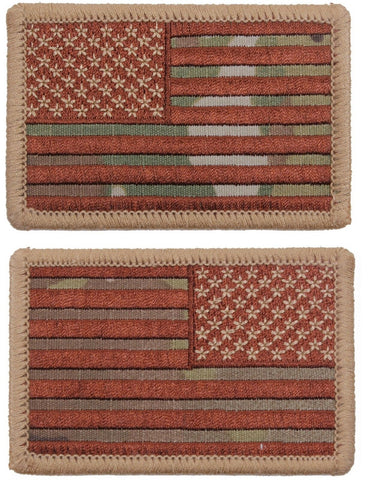 MultiCam Camouflage American Flag Iron On Patch - Camo USA Flag Sewn On Patches