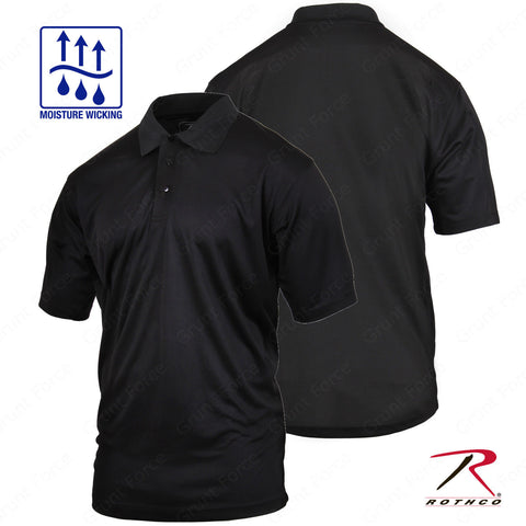 Men's Black 3-Button Short Sleeve Golf Polo - Rothco Moisture Wicking Polo Shirt