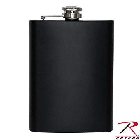 Rothco 8oz. Stainless Steel Black Flask w/ Hinged, Screw-Off Cap - 8 Ounce Flask