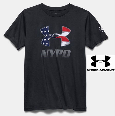 Boys Under Armour Black NYPD Tee Shirt - Kids Youth UA Freedom NYPD Logo T-Shirt