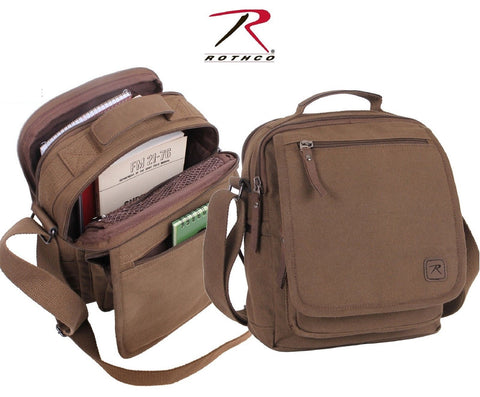 Cotton Canvas Everyday Work Shoulder Bag - Rothco Brown or Green Messenger Bags