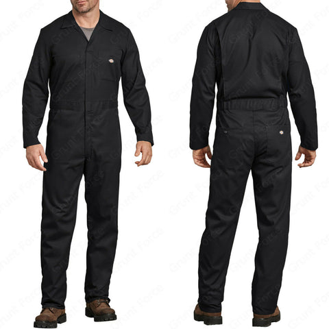 Dickies FLEX Long Sleeve Coveralls - Moisture Wicking Black Mechanic Jumpsuit