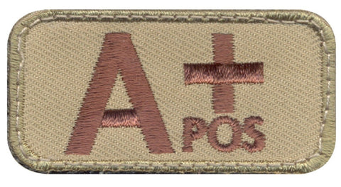 Coyote Brown A+ Blood Type Patch - Rothco A Positive Velcro-Type Hook Patches