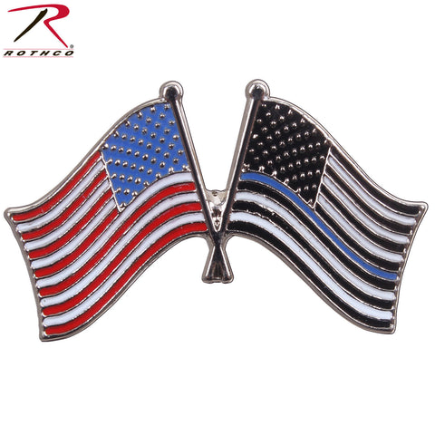 Rothco U.S. Flag & Thin Blue Line Pin - Brass Plated & Carded Police Support Pin