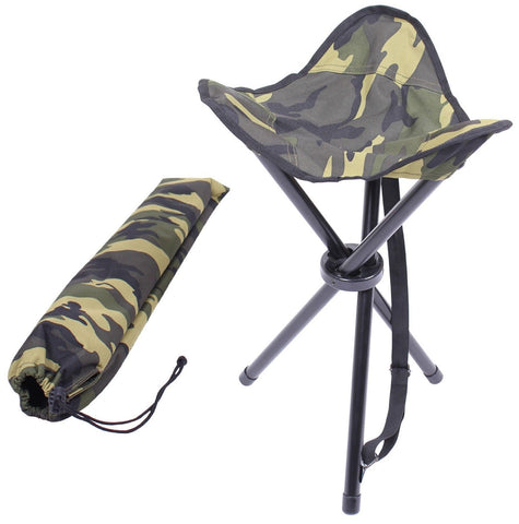 "Foldable Woodland Camouflage 22"" High Collapsible Sitting Stool w/ Carry Bag"