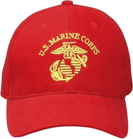 f4e82e21c198f Red USMC Marines Cap - Gold Embroidered Insignia Deluxe Low Profile  Baseball Hat