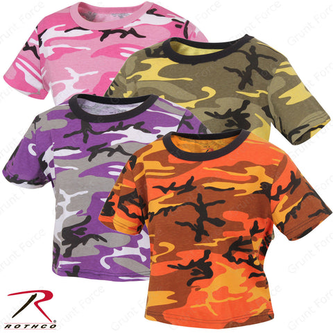 Women's Crop Top Short Sleeve Camo T-Shirt - Rothco Colored Camo Tees