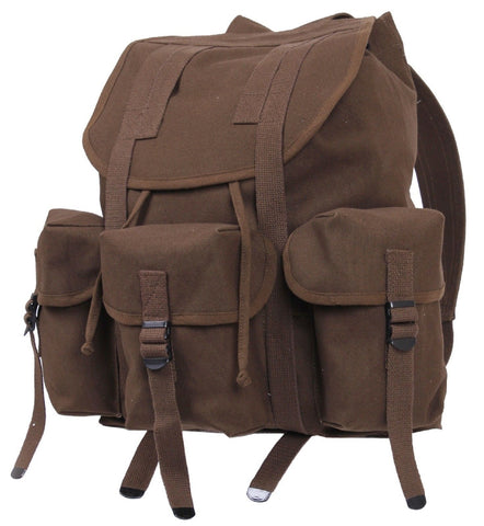"Military Style Earth Brown Mini ALICE Pack Backpack - 16"" Heavyweight Canvas Bag"