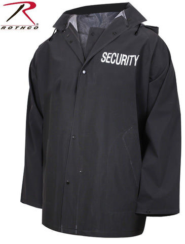 Mens Black SECURITY Rain Jacket - Rothco PVC Bouncer Staff Uniform Coat