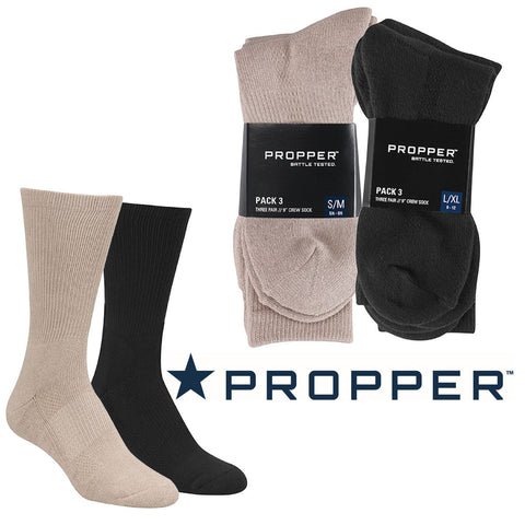 "Propper 3-Pack Boot Sock - Black or Sand 9"" Tactical Crew Socks"