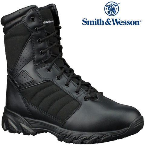 "Mens Black Smith and Wesson 9"" Leather Breach 2.0 Tactical Field Duty Work Boots"