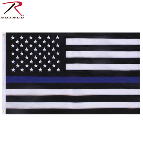 3' x 5' Embroidered Thin Blue Line U.S. Flag - Rothco TBL Deluxe American Flag