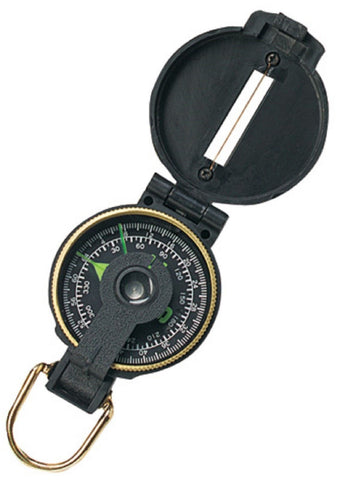 Black Plastic Lensatic Compass - Great For Camping/Hiking Scouts Survival & More