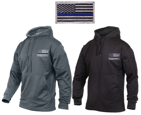 USA Flag Thin Blue Line Concealed Carry Hoodie Sweatshirt & Attachable TBL Patch
