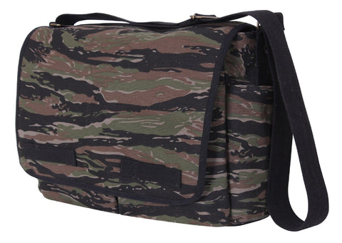 Vintage Tiger Stripe Camouflage Canvas Messenger Bag
