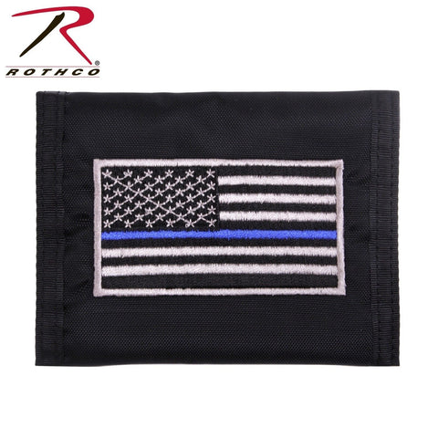 Thin Blue Line Flag Wallet - Black Nylon Tri-Fold Wallet With TBL Embroidery