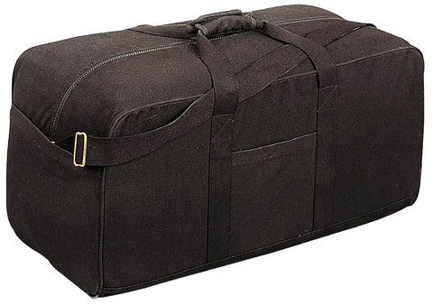 "Black Cotton Canvas Assault Cargo Bag - 29"" Heavyweight Duffle Bags Rothco 8133"