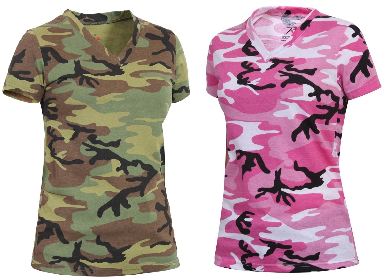 05c263dcb968 Women's Long Length Camo V-Neck T-Shirt - Rothco Woodland or Pink Camouflage  ...
