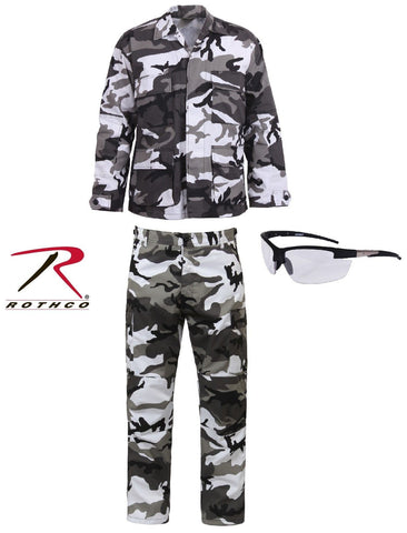 Adult Wrestling Tag Team Halloween Costume - Black & White Camo Outfit & Glasses
