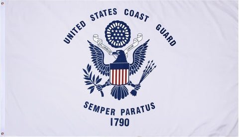 "US Coast Guard Flag 3' X 5' - ""United States Coast Guard Semper Paratus 1790"""