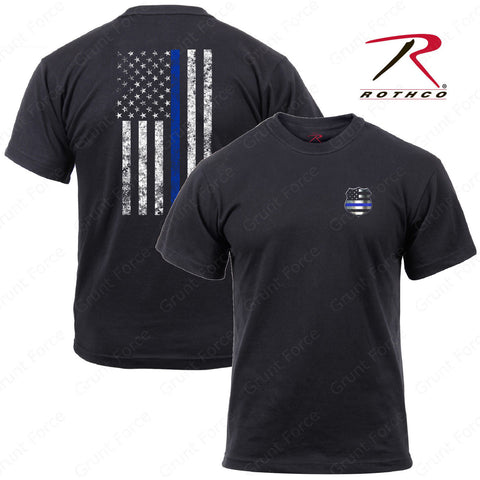 Rothco Thin Blue Line Shield T-Shirt - Men's Black TBL US Flag Tee With Shield