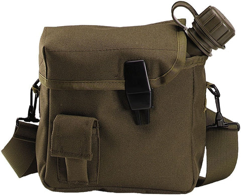 Olive Drab Tactical 2 Quart Bladder Canteen Cover - OD 2 QT Hiking Canteen Cover