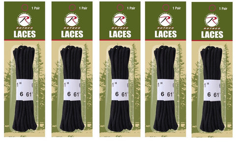 "5 PACK Black 61"" Long Durable Boot & Shoe Lace Shoelaces - 5 PAIRS Rothco 7258"