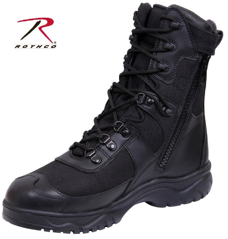 Black V-Motion Flex Tactical Boots Side Zipper Military Style Uniform Work Boot