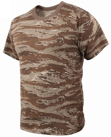 Men's Desert Tan Tiger Stripe Camouflage T-Shirt - Military Camo Tees S - 3XL