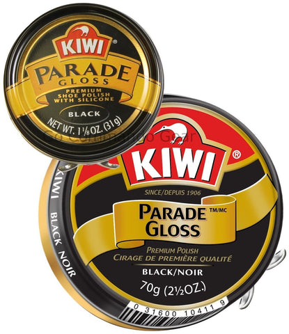 Kiwi Parade Gloss - Black Shoe Shine Polish - 70 & 31 Gram Tins Sizes - US Made