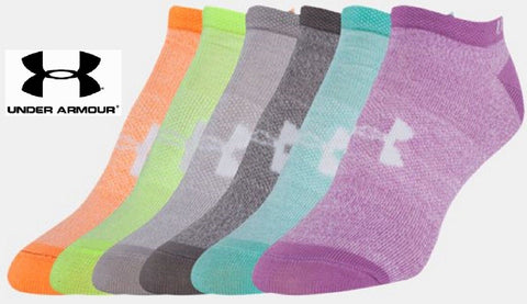 Under Armour Womens No-Show Sock 6 PACK - UA Girls Marble Athletic Socks 6-PACK