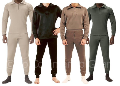Extreme Cold Weather Long John Underwear W/ Zipper Collar - Super Warm & Durable