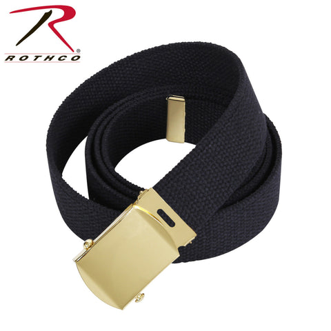 Rothco Cotton/Canvas Military Web Belts - 74 Inches (Black / Gold Buckle)