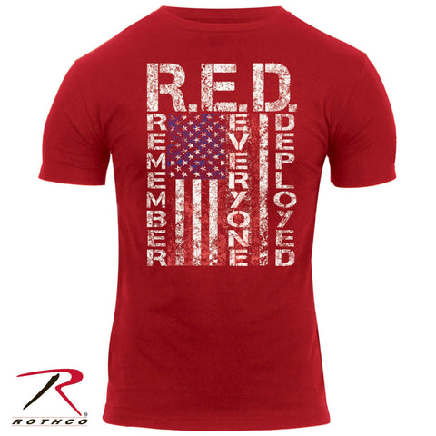 "Rothco Men's Athletic Fit T-Shirt - R.E.D. ""Remember Everyone Deployed"""