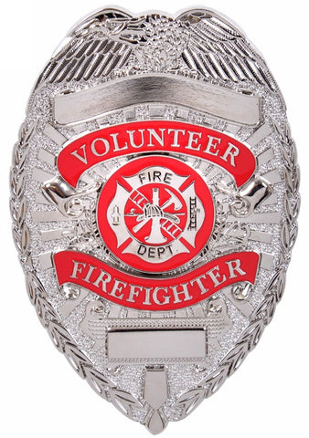 Deluxe Volunteer Firefighter Badge Silver & Red Fire Department Pin Back Badges