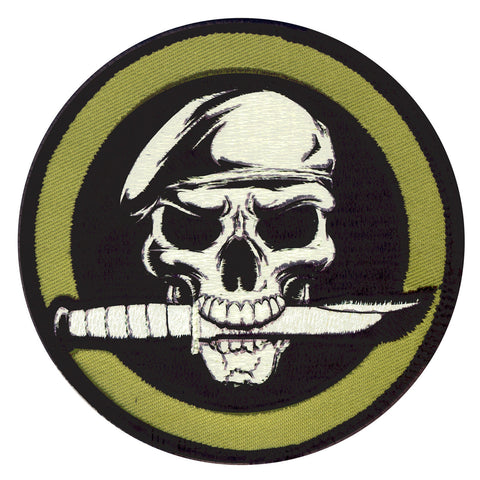 "Rothco Military Skull & Knife Morale Patch - 3¼"" Round Hook & Loop Patch"