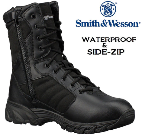 "Black Smith and Wesson 9"" Breach 2.0 Waterproof Side Zip Tactical Work Boots"
