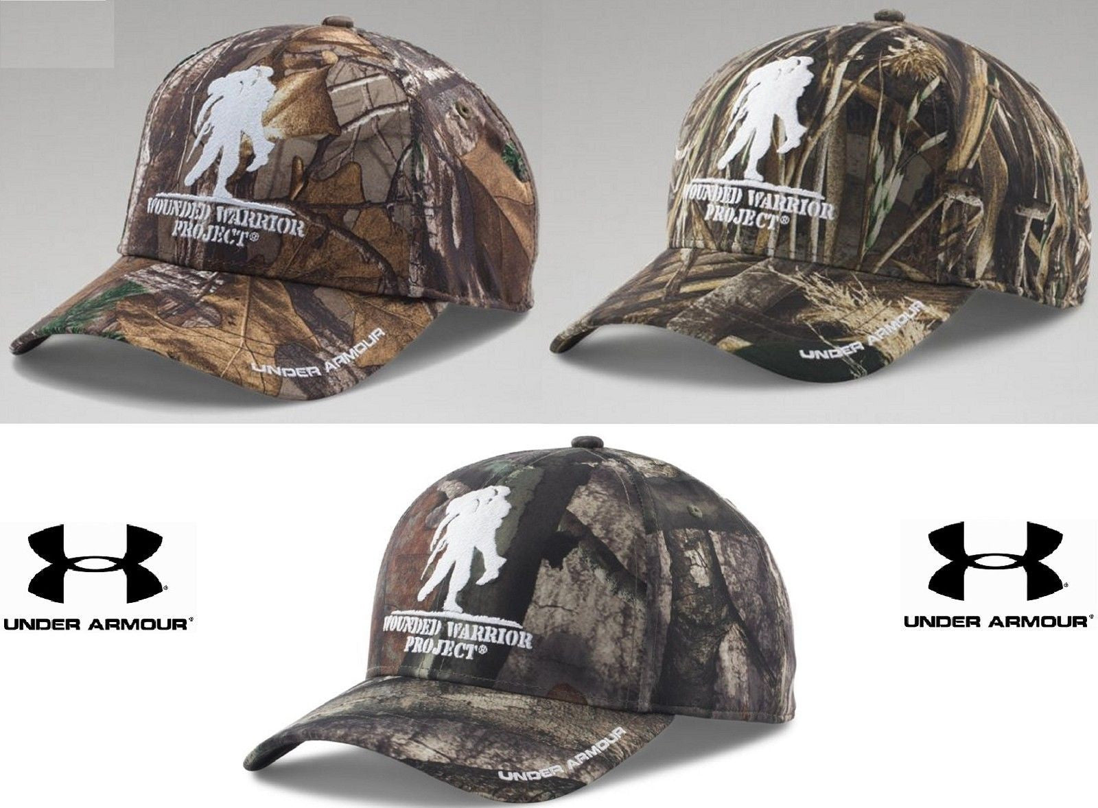 70a0b7bad3a Under Armour Wounded Warrior Project Camo Snap Cap - Mens UA Embroidered  WWP Hat.