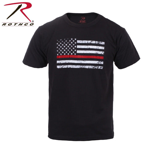 Rothco Kids Thin Red Line American Flag T-Shirt - TRL Tee Fire Dept. Respect