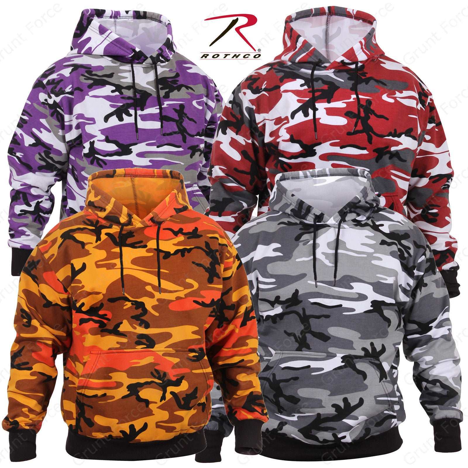 9eed59ff Rothco Camo Pullover Hoodie - Military Style Camouflage Hooded Sweatshirt  Ultra Violet Camo Savage Orange ...