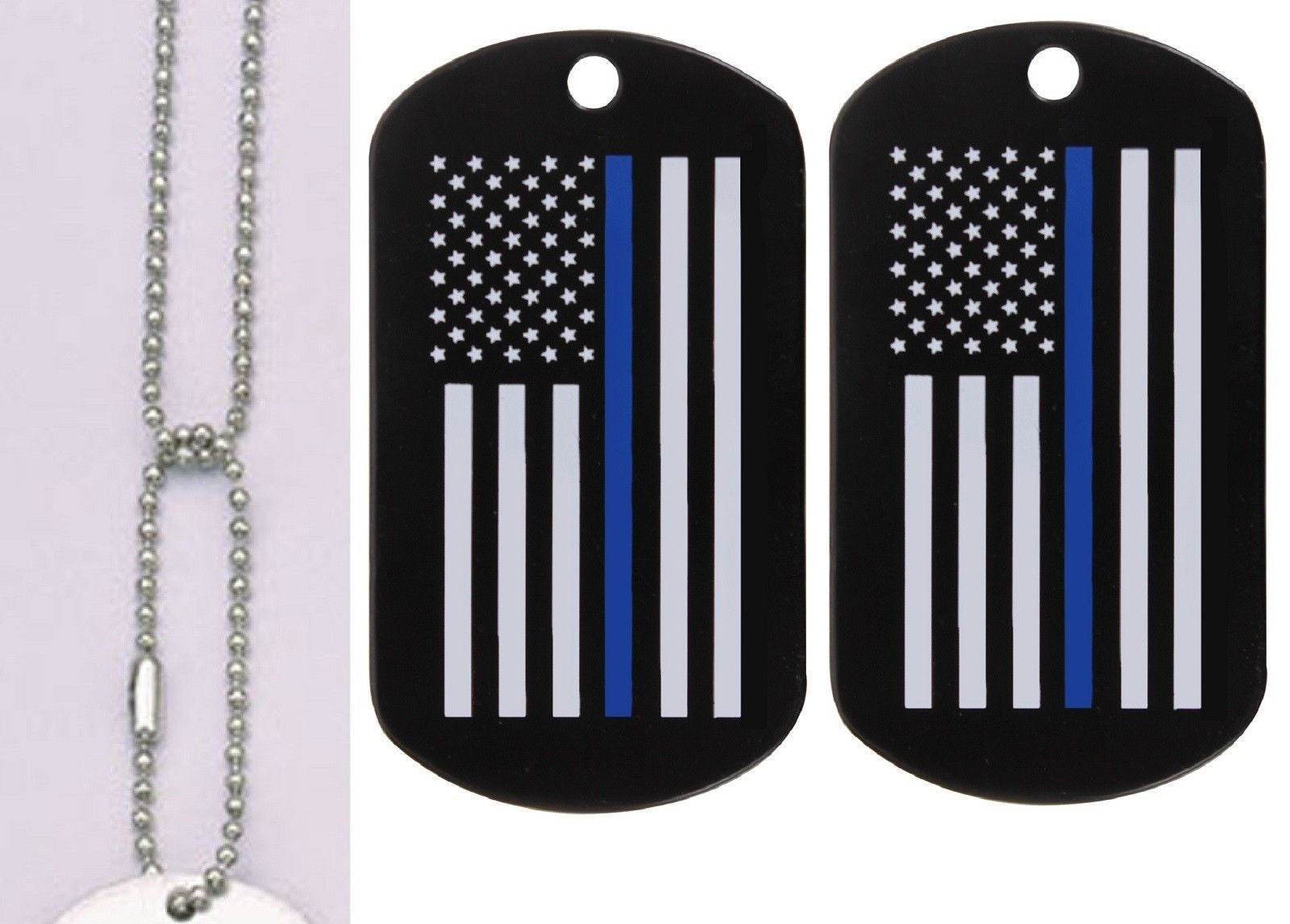 The Thin Blue Line Dog Tags   Neck Chain - Pair TBL Support Steel Tags 7fb7f189561