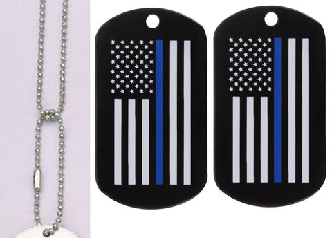 The Thin Blue Line Dog Tags & Neck Chain - Pair TBL Support Steel Tags