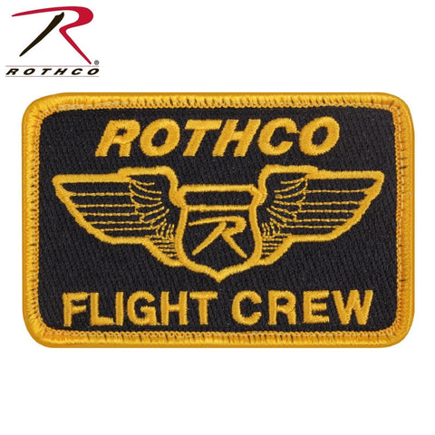 Rothco Hook & Loop Flight Crew Morale Patch - Black With Gold Lettering